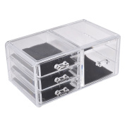 Unique Bargains Acrylic Cosmetics Organiser Jewellery Storage Drawer Case Display Box