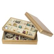 Golden Leather Jewellery Box / Case / Storage / Organiser ZH-LJT001