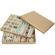 Golden Leather Jewellery Box / Case / Storage / Organiser ZH-LJT002