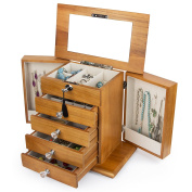 Large Real Natural Hardwood Wooden Jewellery Box Locked w/ a Key