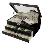 Mele & Co. Alana Glass Top Black Croco Locking Jewellery Box