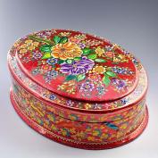 27cm (L) Srinagar Flowers Oriental Asian Wooden Jewellery Box