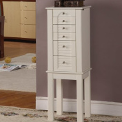 Alcott Hill Glouster Jewellery Armoire with Mirror in White