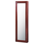 Alps International Wall Mounted Jewellery Armoire with Mirror in Walnut
