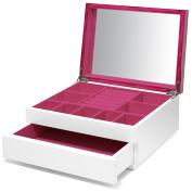 Aura Lacquer Jewellery Box 1-Drawer Magenta