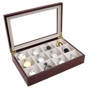Pocket Watch Box Display Case 12 Large Compartments Burlwood Finish See Thru Top