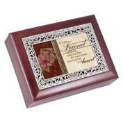A True Friend Rosewood Finish with Silver Inlay Jewellery Music Box - Plays Tune Wonderful World