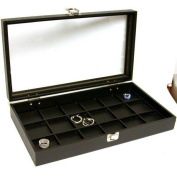 Glass Top Case Black Leather Pocket Watch Jewellery Display Tray