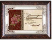 A True Friend Touches Your Heart Dark Wood Finish Jewellery Music Box Plays Tune Amazing Grace