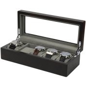 5 Watch Box Wood Espresso Brown Finish Large Compartments High Clearance Glass Window
