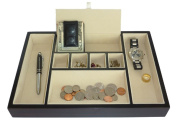 Ebony Wood Valet Tray & Coin Tray Catchall for Keys, Coins, Phone, Jewellery, Accessories and More