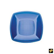 Square Plastic Dessert Plates 180 mm PS CFZ 25PZ transparent blue