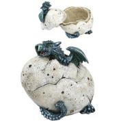 13cm Green Dragon Hatchling Cracked Egg Jewellery/Trinket Box Figurine