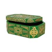 15cm Green and Golden Celtic Knot Jewellery/Trinket Box Figurine