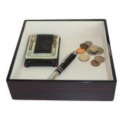 Ebony Wood Lacquer Coin Tray Valet Catch-all for Keys, Coins, Phone, and More