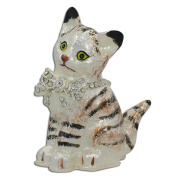 Maine Coon Cat with a Crystal Bow Jewellery Trinket Box Figurine