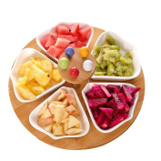 houyuanshun Creative Ceramic Fruit Plate Dried Fruit Plate Candy Plate With Fork Snacks Dessert Plate 5 Grid Bamboo Tray