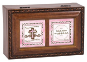 Baptism for Girl Pink Cross Wood Finish Jewellery Music Box Plays Tune Ave Maria