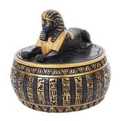 10cm Sphinx Topped Egyptian Round Jewellery/Trinket Box Figurine