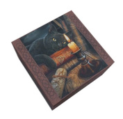 13cm Witching Hour Square Jewellery/Trinket Box with Mirror Statue