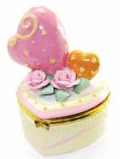 Hearts on Yellow Heart Hinged Porcelain Trinket Box phb