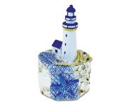 Nautical Jewellery Box Blue Lighthouse With Blue Starfish