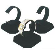 3 Black Velvet Watch Jewellery Bracelet Display Stands