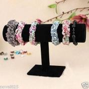 New Delicate 18cm Velvet T-Bar Bracelet Bangle Display Stand Jewellery Holder Black