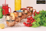 Crockery wala and Company Premium Set of 4 Copper C- Handle Mugs made of 99.5% Pure Solid Copper, Great for cold drinks and for kitchen and bar purposes