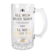 Game Of Thrones Glass Tankard - All Men Must Serve. All Men Must Die