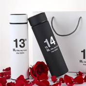 Love will take action to send friends / family vacuum couple mug 304 stainless steel mug portable outdoor thermos mug 1 + 1 black white