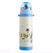 400ml Children's mug baby stainless steel cup cute cartoon leak-proof straps kettle straw cup baby bottle blue