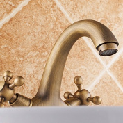 YUCH European style all copper antique cold and hot water double faucet with basin faucet