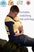 BAMBOO Baby Wrap Sling | Made in the UK by Joy and Joe ® | BAMBOO Cotton Elastane | Organic Stretchy Wrap Carrier | UK/EU Safety Tested | Boxed with Hat, Bag and Instruction Booklet