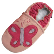 Soft Sole Leather Baby Toddlers Girls Kids Slippers Booties Caro Zoo Butterfly, Pink