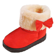 BESTOPPEN Newborn Baby Snow Boots,Toddler Kid Infant Girls Boys Soft Sole Boots Anti Slip Shoes Winter Warm Fur Shoes Lovely Cute Bowknot Crib Shoes Size for 1-3 Years Old