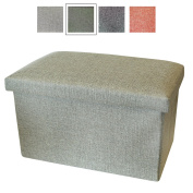 Small Storage Box with Lid - Foot Stool / Foot Pouffe with Storage - Fabric Storage Boxes - Handy Box by Luxelu - Oblong - Olive Green