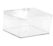InterDesign Rain Stackable Cosmetic Vanity Cabinet Organiser to Hold Makeup, Beauty Products - Small, Clear