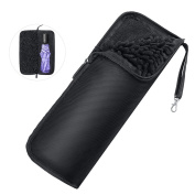 Fastar Water-Absorbent Umbrella Bag Case Zippered Closure Portable Pouch Black 34 x 12.5cm