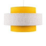 Modern Cylinder Ceiling Pendant Light Shade in a Mustard & Grey Herringbone Finish