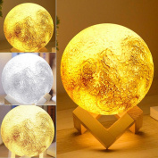3D Printing Moon Lamp, Sayou® Rechargeable Bedroom Night Light Touch Switch Bedside Lamp, Adjustable Brightness and Colour Home Decor Christmas Gift for Friends (Diameter 13cm )