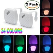 Aizbo 2-Pack Toilet Night Light Motion Activated 24 Colour LED Sensor Bowl Nightlight