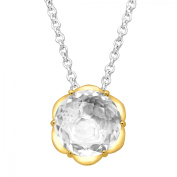 Duet 3 1/3 ct Natural White Topaz Scalloped Solitaire Pendant Necklace in Sterling Silver & 14kt Gold
