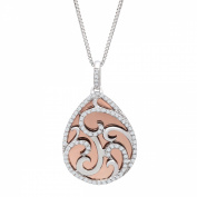Duet 1/4 ct Diamond Teardrop Pendant Necklace in Sterling Silver & 10kt Rose Gold