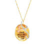 Luminesse Angel Pendant Necklace with Crystals in 18kt Three-Tone Gold-Plated Sterling Silver