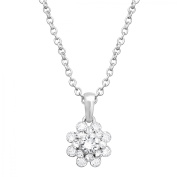Luminesse Flower Pendant Necklace with Crystals in Sterling Silver-Plated Brass