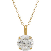 """Believe By Brilliance 8mm Round CZ Solitaire 10kt Yellow Gold Pendant, 18"""""""