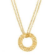 Just Gold Hammered Circle Pendant Necklace in 14kt Gold