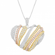 Cubic Zirconia Heart Pendant Necklace in 14kt Yellow & Rose Gold-Plated Sterling Silver