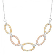Cable Link Necklace with Cubic Zirconia in 14kt Rose & Yellow Gold-Plated Sterling Silver